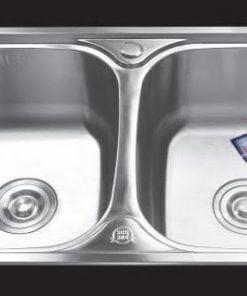 Chậu-rửa-bát-dập-2-hố-cân-SH-8245